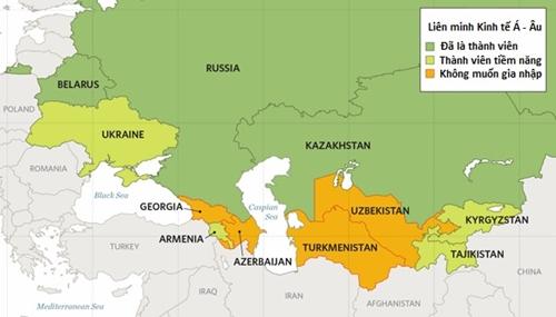 Vị trí các quốc gia đã và sắp trở thành thành viên Liên minh Kinh tế Á - Âu. Đồ họa:heritage.org.