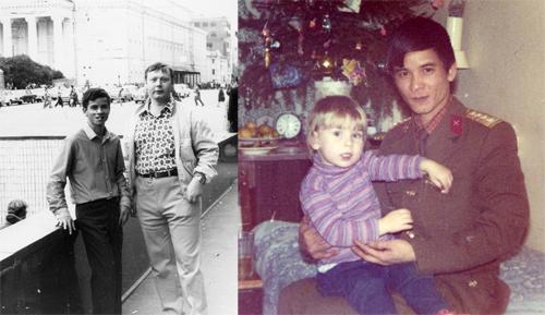 ÔngRolf Huebner và ông Nguyễn Đức Quí những ngày ở Moscow (ảnh trái). Ông Quí bế con gái của ôngHuebner. Ảnh: Nhân vật cung cấp