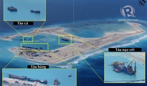 Bức ảnh chụp tháng 12/2014 cho thấy hoạt động cải tạo của Trung Quốc tại bãi đã Chữ Thập. Ảnh:Rappler
