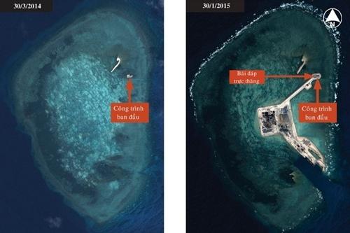 Hình trái là một công trình Trung Quốc xây dựng trên bãi đá Gaven thuộc quần đảo Trường Sa của Việt Nam vào cuối tháng 3 năm ngoái. Trong hình phải, công trình này đã được nối với một đảo nhân tạo mới thông qua một con đường đắp cao. Ảnh: IHS Jane's