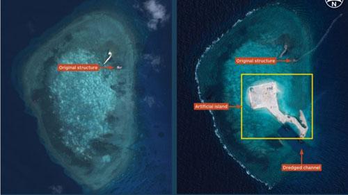 Những hình ảnh cho thấy trước (trái) và sau khi Trung Quốc bồi đắp đảo mới ở Gaven, Trường Sa. Ảnh:IHS Jane's.