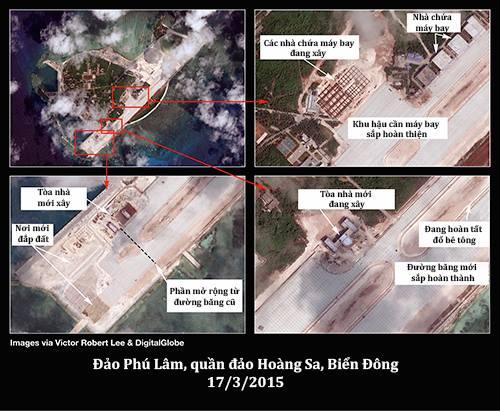 Hình ảnh vệ tinh vềđảo Phú Lâm. Ảnh:DigitalGlobe.
