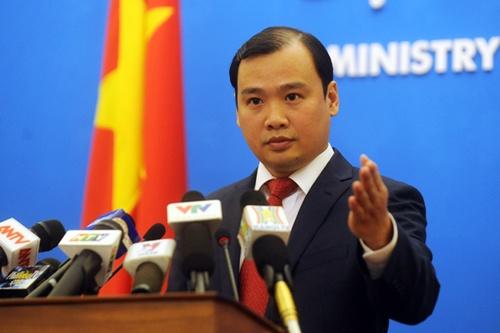 Ông Lê Hải Bình, phát ngôn viên Bộ Ngoại giao Việt Nam trong một cuộc họp báo. Ảnh:Quý Đoàn.