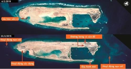 Ảnh vệ tinh hôm 23/3 cho thấy Trung Quốc xây dựng đường băng ở Đá Chữ Thập, quần đảo Trường Sa. Ảnh: Airbus