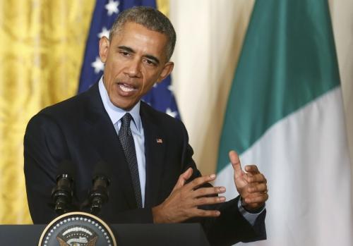 Tổng thống Mỹ Barack Obama hôm qua phát biểu trong cuộc họp báo chung với Thủ tướng Italy Matteo Renzi tại Nhà Trắng. Ảnh: Reuters