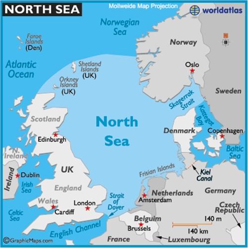 Vị trí Biển Bắc. Đồ họa:worldatlas.com