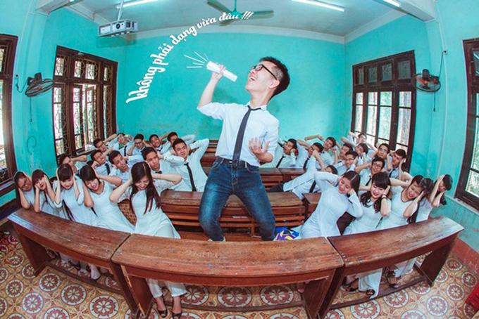 """<p class=""""Normal""""> Bộ ảnh kỷ yếu """"Không phải dạng vừa đâu"""" được lớp 12 Lý, THPT chuyên Hùng Vương (Phú Thọ) thực hiện vào đầu tháng 4.</p>"""