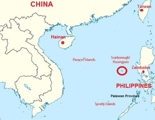 [Caption]Bản đồ cho thấy vị trí tỉnh Zambales, bãi cạn Scarborough/Hoàng Nham, các quần đảo Hoàng Sa (Paracel Islands) và Trường Sa (Spratly Islands) trên Biển Đông. Đồ họa: koreanewsonline
