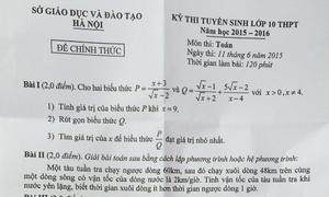 Đề thi Toán vào lớp 10 ở Hà Nội