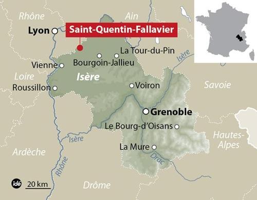 Vị trí xảy ra vụ tấn công. Đồ họa:France Bleu Isère.