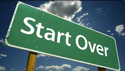 Start over:To begin something