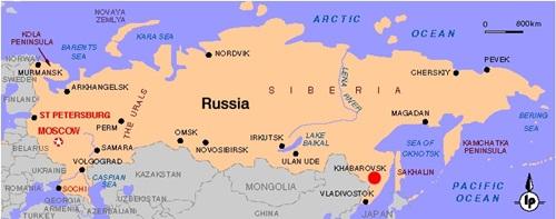 Vị trí thành phố Khabarovsk (chấm đỏ). Đồ họa: math.ucdavis.edu.