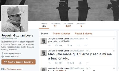 Tài khoản Twitter mang tên của trùm ma túyJoaquin El Chapo Guzman