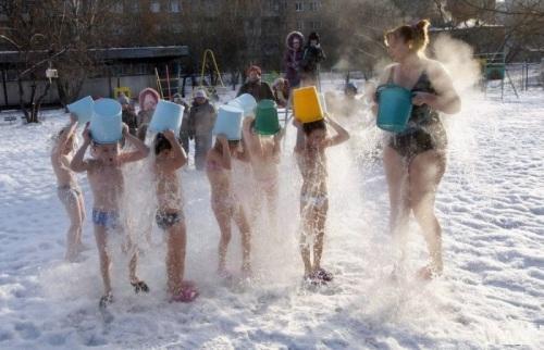 Tắm nước nóng giữa trời lạnh.