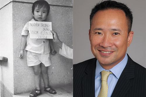 David trong trại trẻ năm 1974 và hiện nay. Ảnh:NVCC