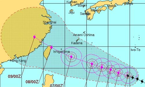 Đường đi dự kiến của siêu bão Soudelor. Đồ họa:JTWC