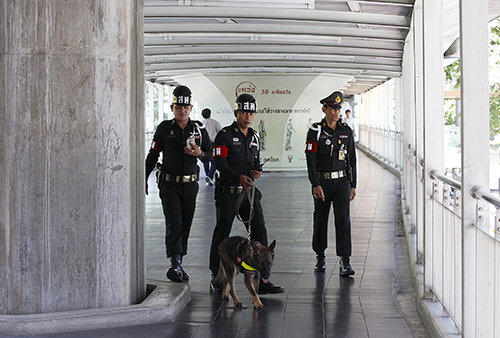 Thai military personnel work with a detection dog on the Bangkok Skywalk August 19, 2015, as authorities step up security in the city after Monday's deadly blast at the Er
