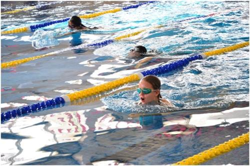 Sau nhữnggiờ học căng thẳngtrên lớp, trẻ được thư giãn tinh thần tại bể bơi tiêu chuẩn 25m trong nhà. Đây cũng là nơicác emrèn luyện thể thao hàng tuần để tham dự giải đấu giữa các trường và khu vực châu Á.