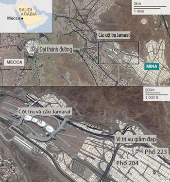Bản đồ thánh địa Mecca và vị trí xảy ra vụ giẫm đạp. Đồ họa:BBC