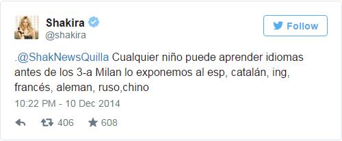 Chia sẻ của nữ ca sĩ về việc dạy Milan học 7 ngôn ngữ khi vừa tập nói trên trang cá nhân Twitter. Ảnh: Twitter
