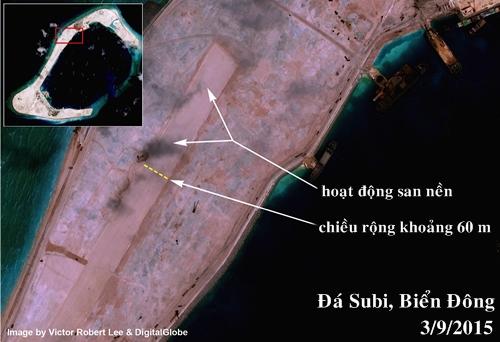 Hình ảnh đường băng được san nền trái phép trên đá Subi, thuộc quần đảo Trường Sa của Việt Nam. Ảnh: DigitalGlobe