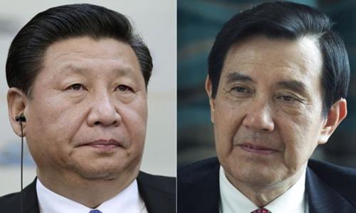 Lãnh đạo Đài Loan Mã Anh Cửu (trái) và Chủ tịch Trung Quốc Tập Cận Bình. Ảnh: AP.