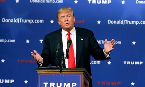 Donald Trump, ứng viên trong cuộc tranh cử tổng thống Mỹ 2016. Ảnh: AP.