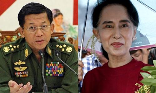 Min Aung Hlaing, Tổng tư lệnh các lực lượng vũ trang Myanmar, và bà Aung San Suu Kyi, lãnh đạo đảng
