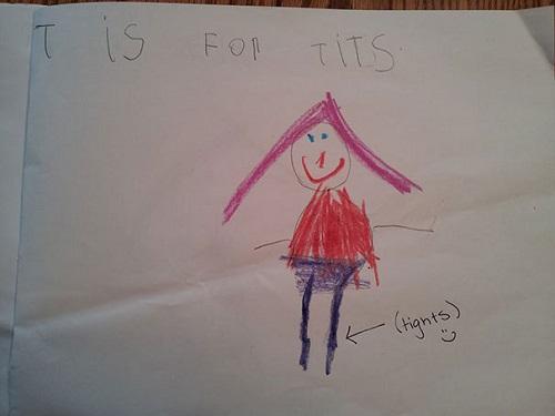 """Có lẽ bài tập này yêu cầu đứa trẻ hãy vẽ hình người và tìm thứ gì trong bức tranh bắt đầu bằng chữ """"t"""" và cậu chọn từ """"tits"""" có nghĩa """"bộ ngực"""". Giáo viên đã hài hước gợi ý đáp án khác là từ """"tights"""" - quần bóp sát."""