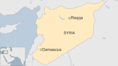 Vị trí Raqqa ở Syria. Đồ hoạ: BBC