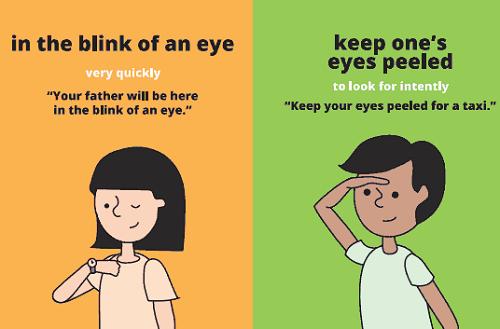 In the blink of an eye: trong chớp mắt, trong khoảnh khắc Ví dụ: Your father will be here in the blink of an eye. (Bố tớ sẽ ở đây trong chớp mắt thôi) Keep ones eyes peeled: tìm kiếm thứ gì một cách có chủ ý Ví dụ: Keep ones eyes peeled for a taxi. (Cố tìm một chiếc taxi đi)
