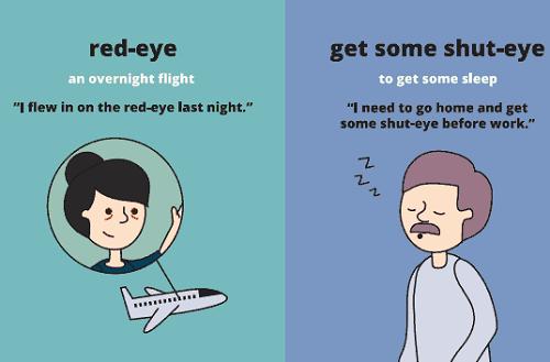 Red-eye: chuyến bay xuyên đêm Ví dụ: I flew in on the red-eye last night. (Tôi có một chuyến bay xuyên đêm tối qua) Get some shut-eye: đi ngủ một lúc Ví dụ: I need to go home and get some shut-eye before work. (Tôi phải về nhà và ngủ một lúc trước khi đi làm)