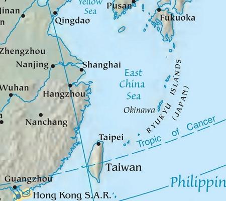 Vị trí biển Hoa Đông (East China Sea). Đồ họa: