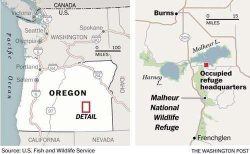 Vị trí Khu bảo tồn động vật hoang dã quốc gia Malheur. Đồ họa: Washington Post.