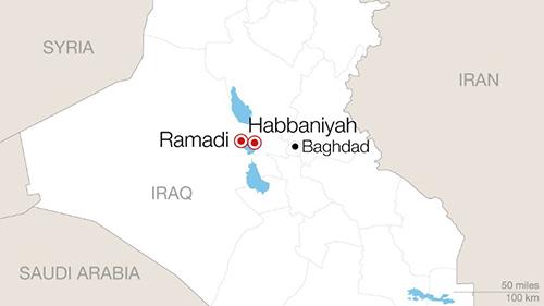 Vị trí thành phố Ramadi vàHabbaniyah, nơi cómột khu trại dành cho những cư dân may mắn chạy thoát khỏi lãnh thổ bị IS chiếm đóng.
