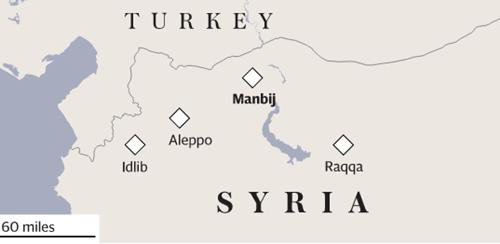 Vị trí thị trấn Manbij. Đồ họa: Telegraph.
