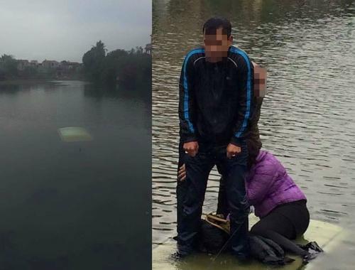 Ba người thoát khỏi chiếc xe bị chìm giữa dòng nước lạnh.