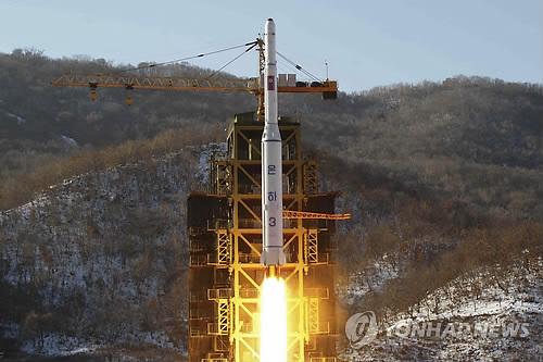 Tên lửa Unha 3 của Tiều Tiên. Ảnh: Yonhap