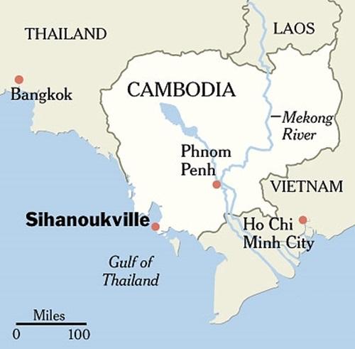 Vị trí tỉnh Sihanoukville, gần nơi xuồng chìm. Ảnh: NYTimes