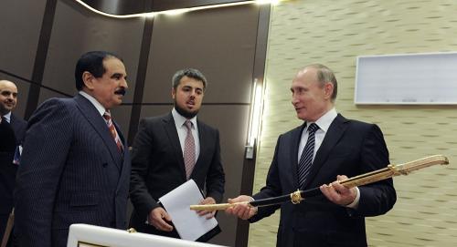 Tổng thống Nga Vladimir Putin và Quốc vương Bahrain  Hamad bin Isa Al Khalifa. Ảnh: Sputnik