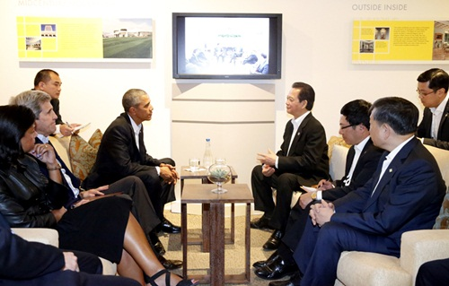 Cuộc gặp song phương của lãnh đạo Mỹ - Việt diễn ra hôm nay. Ảnh: Văn phòng chính phủ