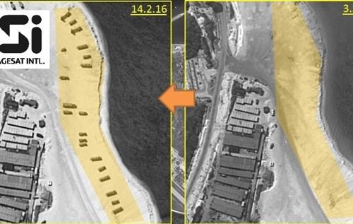 Ảnh chụp một bãi biển trên đảo Phú Lâm trong hai ngày 14/2 và 3/2. Ảnh: ISI.