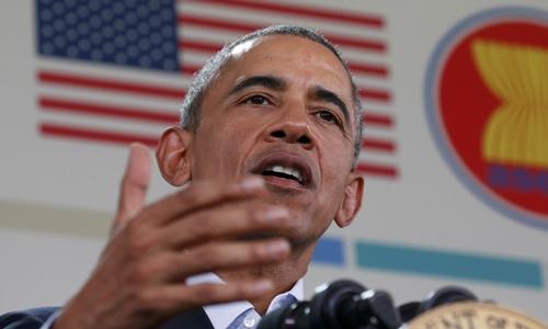 Tổng thống Mỹ Barack Obama phát biểu với báo giới sau hội nghị cấp cao Mỹ - ASEAN, tổ chức tại Sunnylands,Rancho Mirage, bang California, ngày 16/2. Ảnh: Reuters.