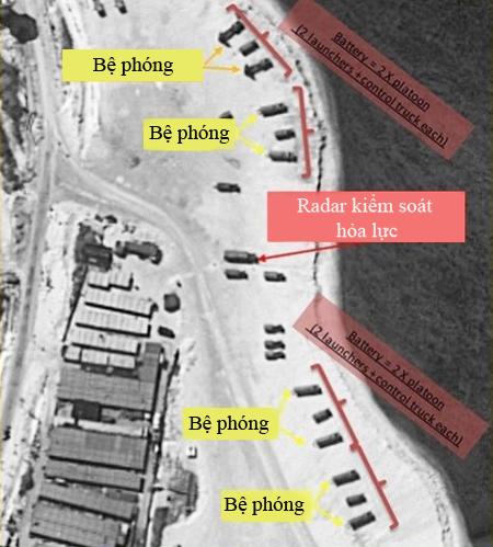 Hai khẩu đội tên lửa HQ-9 bố trí trên bờ biển đảo Phú Lâm được vệ tinh phát hiện vào tuần trước. Ảnh: Fox News