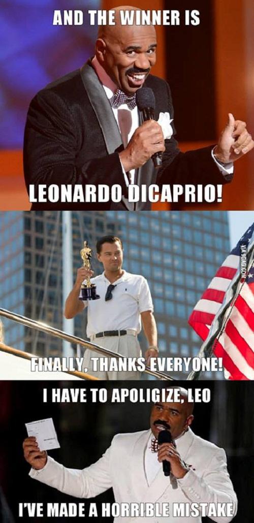 Kịch bản tệ nhất cho Leonardo DiCaprio là MC Steve Harvey tái hiện lại sự cố trao nhầm vương miện.