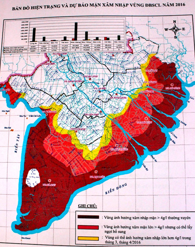 Bản đồ xâm nhập mặn nghiêm trọng nhất trong lịch sử tại miền Tây. Ảnh: Cửu Long