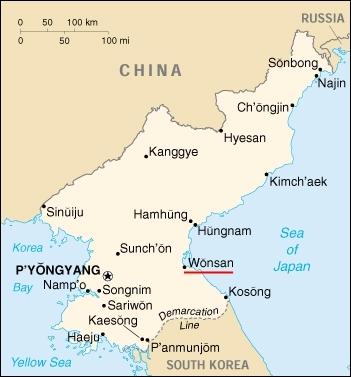 Vị trí thành phố Wonsan. Đồ họa: World Post Source.