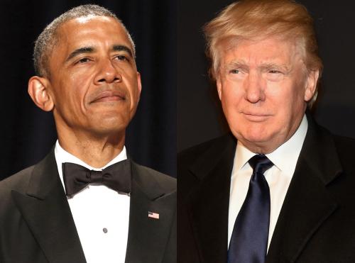 Tổng thống Mỹ Barack Obama và tỷ phú Donald Trump, một ứng viên tranh cử tổng thống thuộc đảng Cộng hoà. Ảnh: EOnline