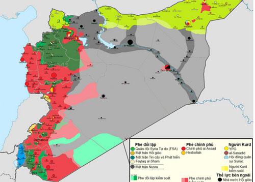 Phân chia chiến trường Syria trước và sau khi Nga can thiệp. Đồ họa:UICA