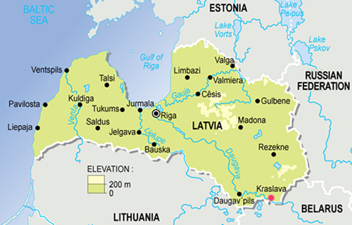 Vị tríKraslava (chấm đỏ)nằm gần